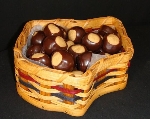 Basket - Ohio State Shaped - Amish Handcrafted - Colors Schemes may vary from Natural, Blue, Green, Red, Burgundy, Purple, Brown, and Black (Buckeye Candy Not Included)