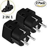 European Adapter,UROPHYLLA Travel Adapter 2 Pack European Power Adapter Schuko Plug Adapter,Universal Plug Adapter for Germany France Denmark Iceland Netherlands Finland Russia Greece Spain etc
