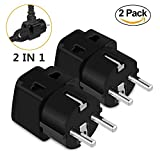 European Adapter,UROPHYLLA Travel Adapter 2 Pack Power Adapter Schuko Plug Adapter,Universal Plug Adapter for Germany France Denmark Iceland Netherlands Finland Russia Greece Sweden Spain and more
