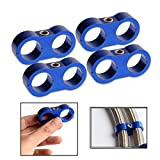4Pcs AN10 19MM Aluminum Braided Hose Separator Clamp Fitting Adapter Bracket Blue