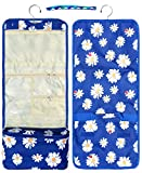 Best Blue Daisy Flower with Ladybug Designer Large Hanging Toiletries Cosmetic Jewelry Kit Travel Bag Pouch Shower Caddy Unique Last Minute Back to School Gift Idea for Her Women Ladies Daughter Mom