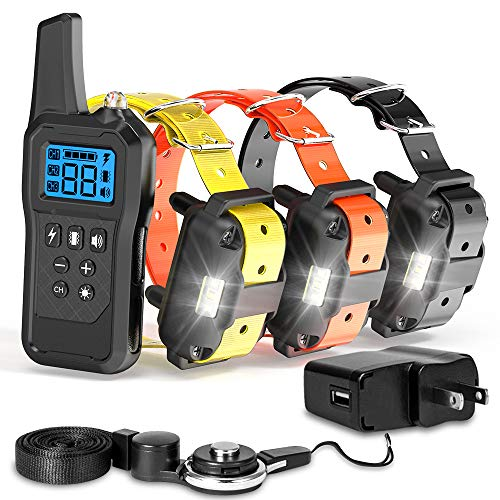 F-color Dog Training Collar, Updated 2600FT Dog Shock Collar for Large Medium Small Dogs, 4 Modes Light Beep Vibration…
