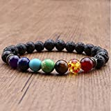 by lucky Reiki 7 Gemstone Chakra Lava Rock Stone Spacer Healing Bead Bangle Bracelet Gift