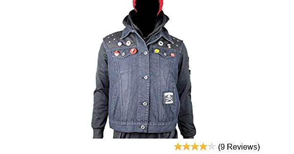 thecostumebase Infamous Second Son Vest and Pins Only Delsin Rowe Cosplay Denim Waistcoat at Amazon Mens Clothing store:
