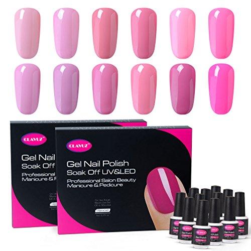 CLAVUZ Gel Nail Polish Kit Soak Off 12pcs Pink Nail Polish Nail Art Manicure New Starter Gift Set