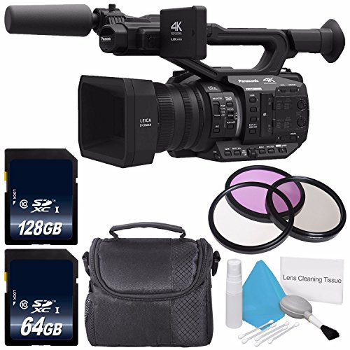 Panasonic AG-UX90 4K/HD Professional Camcorder + 64GB SDXC Class 10 Memory Card + 128GB SDXC Class 10 Memory Card + 67mm 3 Piece Filter Kit + Deluxe Cleaning Kit + Carrying Case Bundle by 6Ave