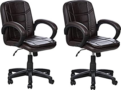 Nice Goods RSC Leatherette Office Arm Chair (Brown, Set of 2)