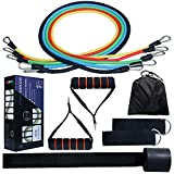 Resistance Bands Set, Yomodo Exercise Cords With 11pc Door Anchor & Ankle Strap& Waterproof Carry Case For Resistance Training, Physical Therapy, Home Gyms Workouts Fitness Yoga