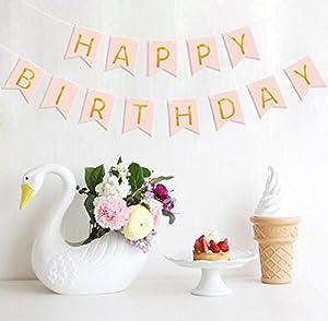 Happy Birthday Banner&Happy Birthday Cake TopperBundle, Konsait Pink and Gold Birthday Party Decorations Gold Glitter Birthday Bunting Flag garland Cake topper for Girl 1st Birthday Party from Konsait