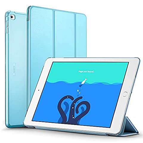 iPad Air 2 Case, ESR Smart Case Cover [Synthetic Leather] Translucent Frosted Back Magnetic Cover with Auto Sleep/Wake Function [Ultra Slim][Light Weight] (Sky (Ipad 2 Air Magnetic Cover)