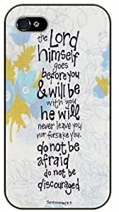 Diy For SamSung Galaxy S6 Case Cover Bible Verse - The Lord himself goes before you and will be with you - black plastic Verses, Inspirational and Motivational