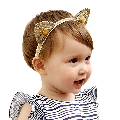 Holy KT 100% Handmade Hand Embroidery Lace Cat Ears Baby Toddler Girl Headbands Cute Ears Elastic Hair Clip Baby Hair Accessories -
