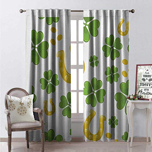 Hengshu Rock Window Curtain Drape Irish Luck Symbols Horse Shoe Coins and Four Leaf Clovers Pattern Customized Curtains W84 x L108 Apple Green and Yellow