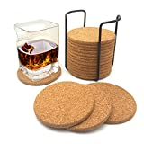 Reusable Natural Cork Coasters 4inch 18 Pc Set with Metal Holder Drink Spills Coasters Absorbent Eco-Friendly Heat-Resistant Saucers for Cold Drinks Wine Glasses Cups Housewarming christmas gift