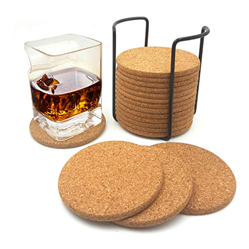 Reusable Natural Cork Coasters 4inch 18 Pc Set with Metal Holder Drink Spills Coasters Absorbent Eco-Friendly Heat-Resistant Saucers for Cold Drinks Wine Glasses Cups Housewarming christmas gift ()