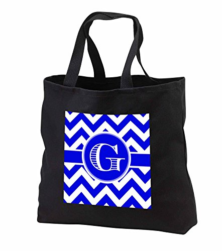 BrooklynMeme Designs - Blue and white chevron monogram white initial G - Tote Bags - Black Tote Bag 14w x 14h x 3d - Black D&g Bag