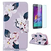 CasesHome Premium PU Leather Samsung Galaxy S5 Wallet Case + [Free Screen Protector] Unique Style Pattern Design [Card Holder Slot] Soft Shell-Lily Flowers White