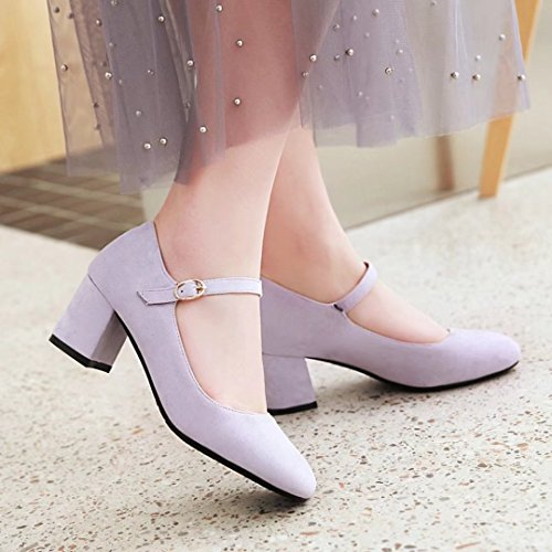 28433f089befc1 ... AIYOUMEI Damen Knöchelriemchen Pumps mit 5cm Absatz Blockabsatz High  Heels Elegant High Shoes Lila