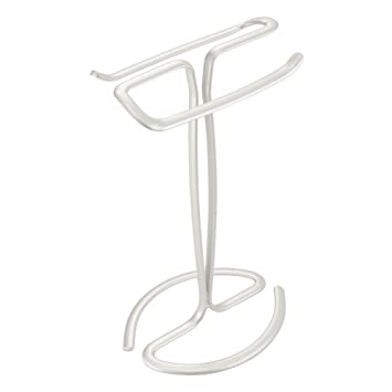 InterDesign Axis Toallero de pie para el lavabo   Elegante soporte con dos barras para toallas   Práctico toallero sin tornillos   Metal blanco: Amazon.es: ...
