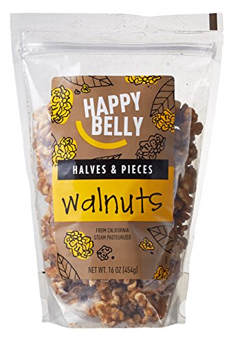 Amazon Brand - Happy Belly California Walnuts, Halves and Pieces, 16 Ounce,  Pack of 2