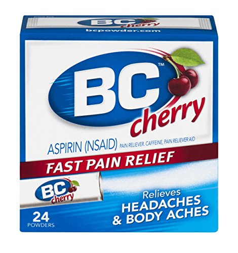 Bc Aspirin Fast Pain Relief Powder   Quickly Relieves Pain Due To Headaches  Body Aches  And Fever   Contains Caffeine   Cherry Flavored   24 Powders