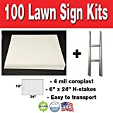 Box of 100 18''x24'' Cororugated Blank Yard Signs with H-stakes