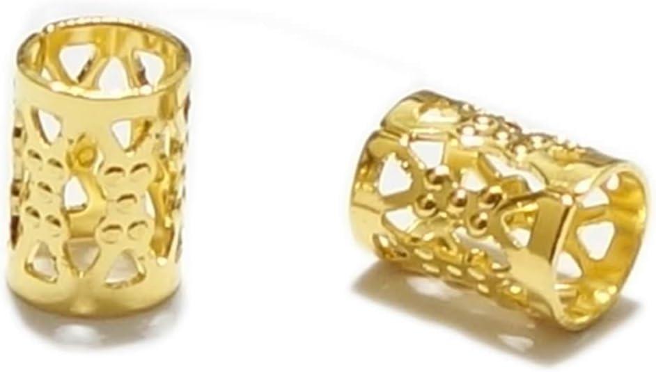 200 piezas de alta calidad 8 x 6 mm tubos chapado en oro filigrana patrón tubo espaciador cuentas (tamaño del agujero ~ 4,9 mm) CF106