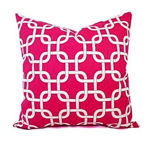 Bright Pink and White Throw Pillow Cover in Custom Sizes - Geometric Decorative Pillow Sham - Hot Pink Pillows - Lumbar Pillow Euro Sham
