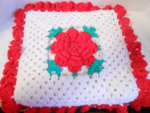 Hand Crocheted Rose Pillow Case Red, White and Green 16