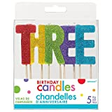 'T-H-R-E-E' Colorful Glitter Birthday Candle   Party Supply