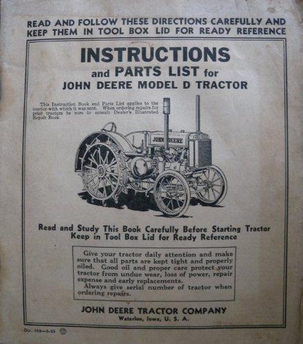 John Deere Model D Tractor Instructions and Parts List