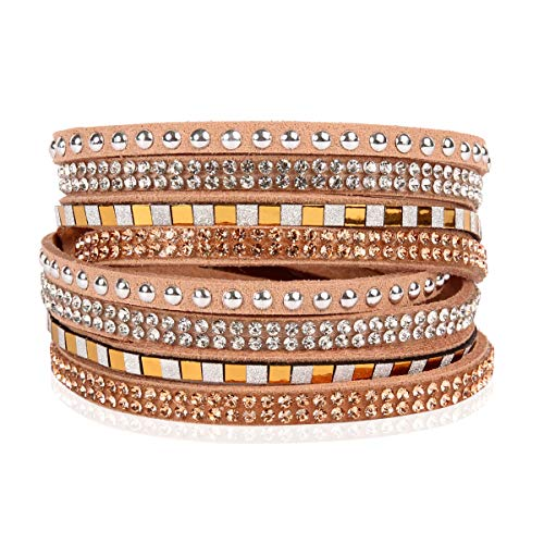 RIAH FASHION Bohemian Faux Suede Leather Wrap Multi Layer Bracelet - Boho Wrist Adjustable Cuff Bangle Crystal Rhinestone/Metallic Bead/Natural Stone Embellishment (Square Stud Mix - - Bangle Stud