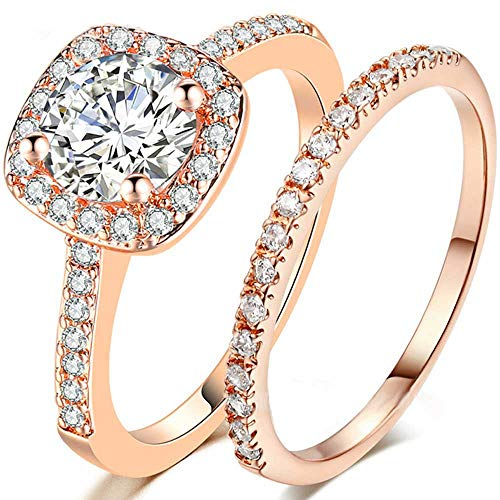 Palladium Princess Ring - AONEW Wedding Bands for Women Engagement Ring Set Rose Gold 2Ct Princess White AAA Cz Size 5-10 Size 8