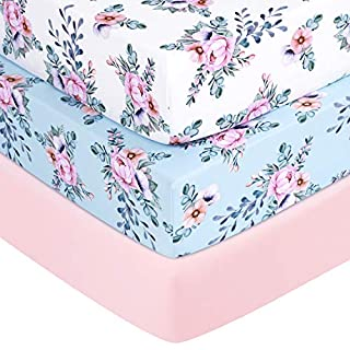 """TILLYOU Jersey Knit Thicker Softer Crib Sheets, 170 GSM Breathable Skin-Friendly Baby Bed Sheets for Girls, 28"""" x 52"""" x 8'' Stretchy Toddler Mattress Sheets, 3 Pack Floral"""