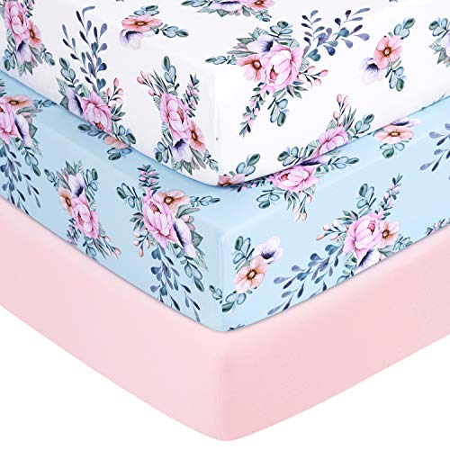 "TILLYOU Jersey Knit Floral Crib Sheets, Thick Soft Hypoallergenic Baby Bed Sheets for Girls, 28"" x 52"" x 8"