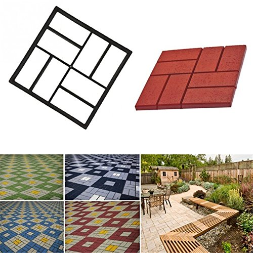 Garden Pavement Mold Garden Walk Pavement Concrete Mould DIY Manually Paving Cement Brick Stone Road Concrete Molds Pathmate Moulds (Brick Backyard Ideas Patio)