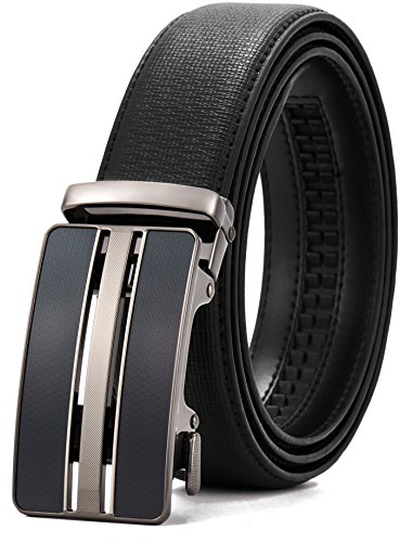 Leather Ratchet Belt Dress with Slide Click Buckle Adjustable - 1 3/8