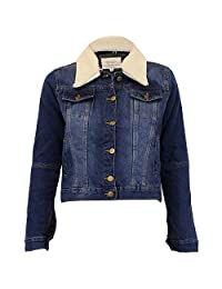 Chocolate Pickle Womens Denim Mid Blue Wash Sherpa Collar Padded Winter Jackets