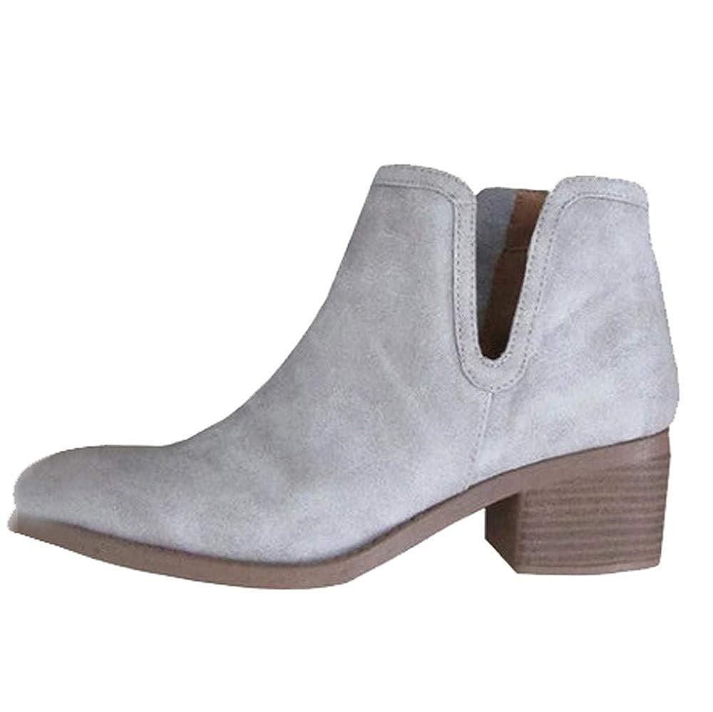 Bottine Femmes Plates Boots Femme Cuir Talon éPais Fermeture Eclair Bottes Talon Chic Compensé Grande Taille Chaussures Kaki Rose Gris Noir EU36-41