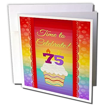 Amazon 3dRose Cupcake Number Candles Time Celebrate 75 Years Old Invitation