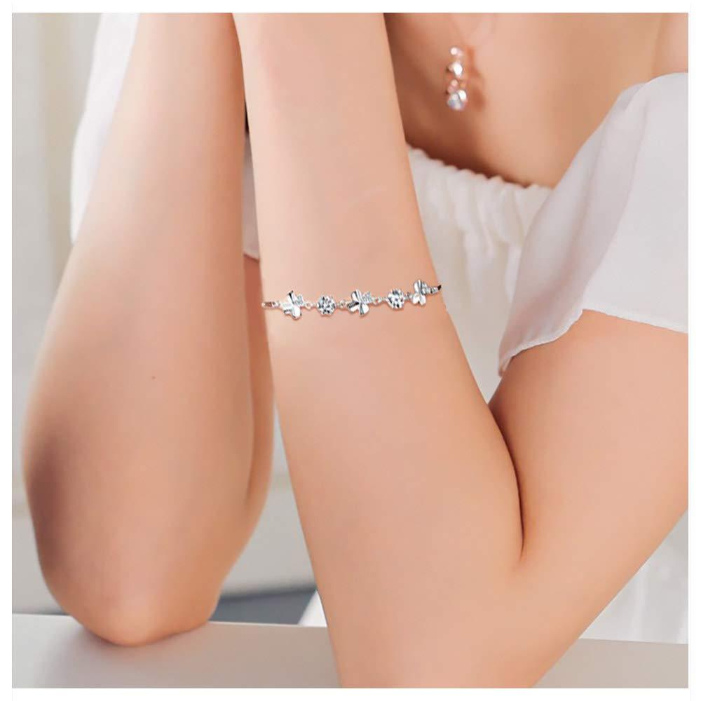 Bijoux Fantaisie Cadeau pour Femme Fille pour Anniversaire Saint-Valentin et F/êtes WikiMiu Bracelet Femme en Argent 925 en Forme de Tr/èfle /à Quatre Feuilles
