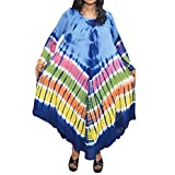 Womens Kaftan Dress Tie Dye Embroidered Long Sleeve Cover up Dresses