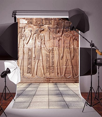 - Laeacco Vinyl 5x7FT Photography Background Egyptian Mural Figures Carved Stone Wall Square Tile Retro Pharaoh Artistic Design Backdrop Children Adults Artist Students Portraits Shooting Studio Props