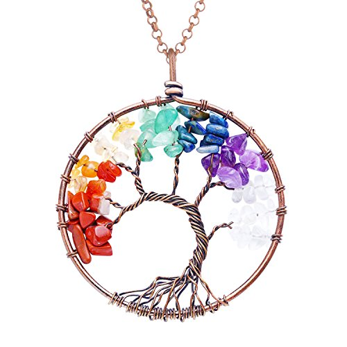 BaubleStar Fashion Tree of Life Pendant Necklace Handmade Gemstone 7 Chakra Crystal Jewelry Mothers Day Gifts for Women-BAN0048M