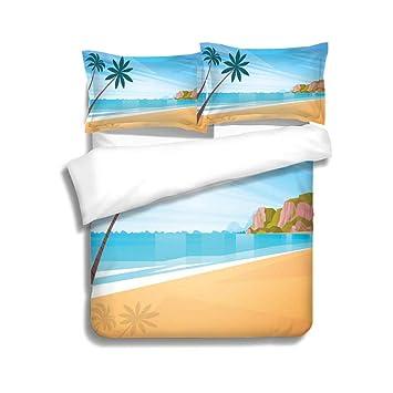 Amazon.com: MTSJTliangwan Duvet Cover Set Sea Shore Sand ...