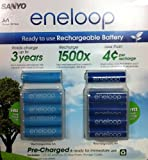 Sanyo 10 Pack AA eneloop 2nd generation 1500 cycle Rechargeable Batteries with 2 Plastic Storage Cases