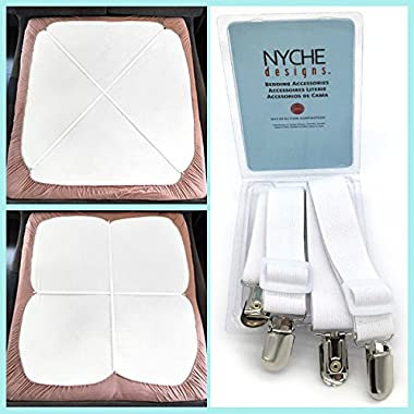 Crisscross Adjustable Bed Sheet Straps Suspenders Model W1 (Set of 2, White)