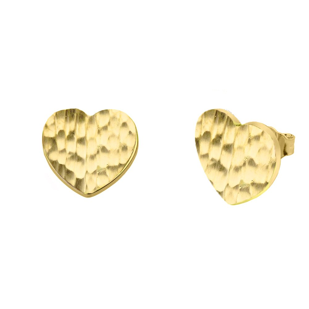 Fine 10k Yellow Gold Love Hammered Heart Charm Pendant Necklace and Earring Set, 18'' by Claddagh Gold (Image #3)