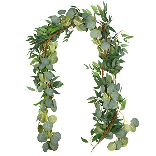 Outgeek 6.5' Long Artificial Eucalyptus and Willow Leaves Hanging Greenery Garland Artificial Vine Wedding Decorations Indoor Outdoor]()