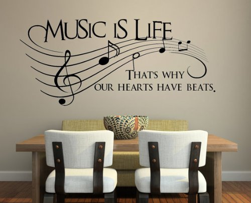 """Imprinted Designs Music Is Life. That's Why Our Hearts Have Beats Vinyl Wall Decal Sticker Art 26"""" X 60"""""""